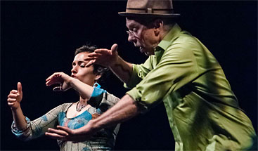 Press photo of Keith Terry & Evie Ladin, Crosspulse Duo